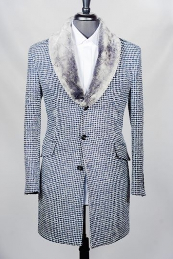 stanlion blue furry luxury overcoat