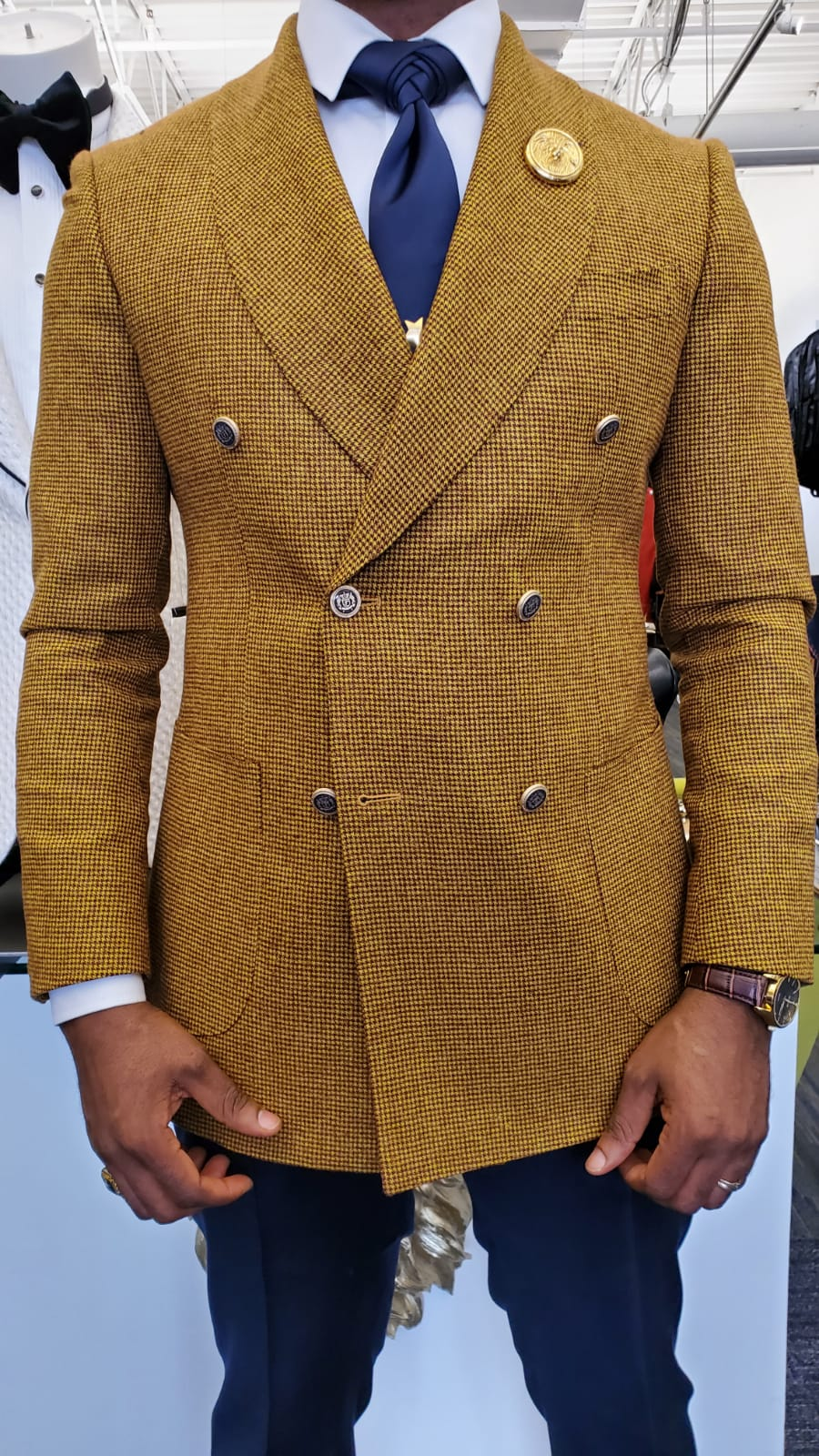 Stanlion Tuscany Gold Double Breasted Micro Textured Suit ...